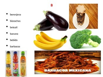 Kindergarten a to z foods in Spanish