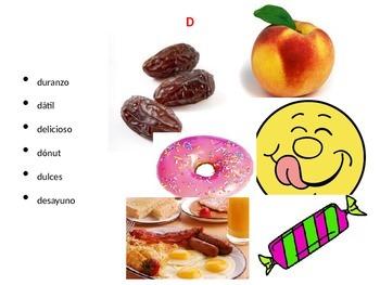 Kindergarten a to z foods in Spanish