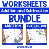 Addition and Subtraction Worksheets BUNDLE for Kindergarten and 1st Grade