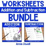 Addition and Subtraction Worksheets BUNDLE for Kindergarte