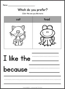 Kindergarten and 1st Grade Halloween Opinion Writing Printables