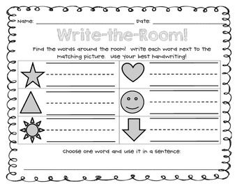 Kindergarten and 1st Grade Sight Word Write-the-Room