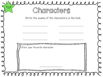 Kindergarten and First Grade Book in a Bag Activity Packet