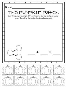 Kindergarten and 1st Grade Fall Pumpkin Halloween Math Center/Station Activities