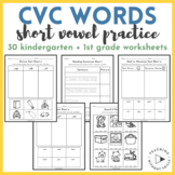Kindergarten First Grade CVC Short Vowel Word Family Sorts Read, Draw, Cut, Sort