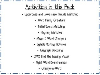 Kindergarten and First Grade Phonics Center Activities (Common Core Aligned)