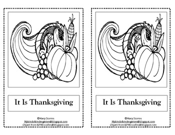 Kindergarten and First Grade Thanksgiving Reader-It Is Thanksgiving