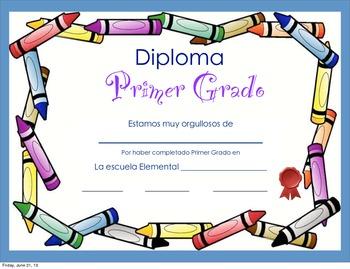 Kindergarten and First grade Spanish Diplomas. Diplomas en español para K/1