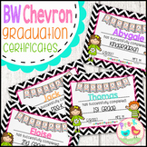 Graduation Certificates - Black & White Chevron