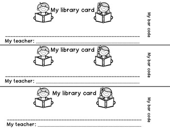 Kindergarten and Pre-K Library Cards and More