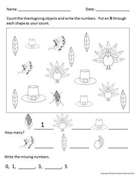 Thanksgiving Math: Kindergarten and Pre-K Activities Worksheets
