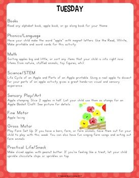 Kindergarten and Preschool Apple Theme Unit