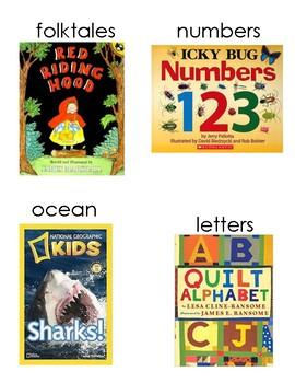 Kindergarten classroom library book box labels