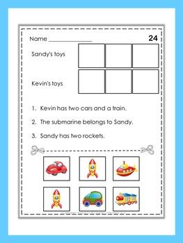 Kindergarten read, cut and paste activity