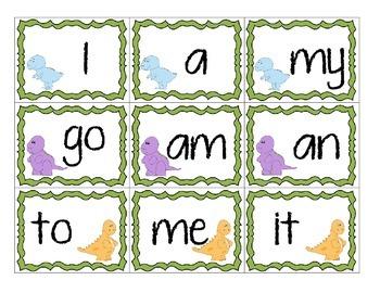 Kindergarten dino-themed sight words