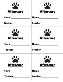 Kindergarten dismissal tags