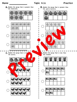 Kindergarten enVision Math 2.0 Topic 4  Practice Sheets