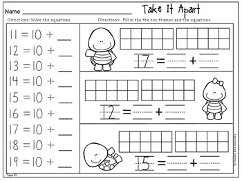 Kindergarten Math -  Topics 10 and 11: Composing and Decomposing Numbers 11-19