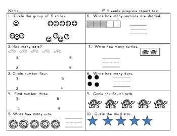 Kindergarten enVision Math topic 1 and 2 test