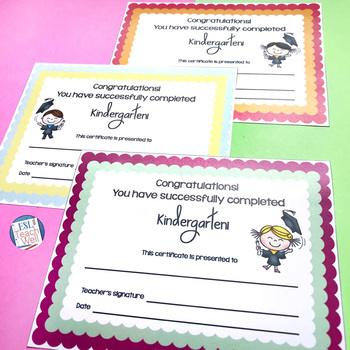 Kindergarten End of the Year Certificates