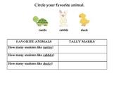 Kindergarten favorite animals bar graph tally common core