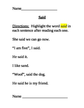 Kindergarten high frequency words practice sheet