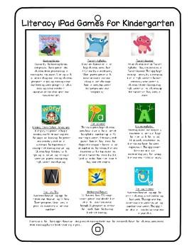 Kindergarten iPad Literacy App Recommendation Handout