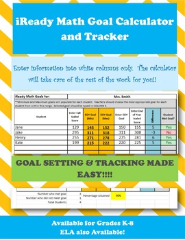 Kindergarten iReady Math Goal Setting Calculator