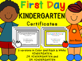 Kindergarten First Day of School Certificate (incl. Junior, Senior)