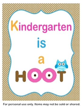 Kindergarten is a Hoot Classroom Sign