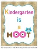 Kindergarten is a Hoot Classroom Sign