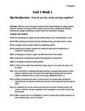 Kindergarten lesson plan week one, Reading Street and Envi