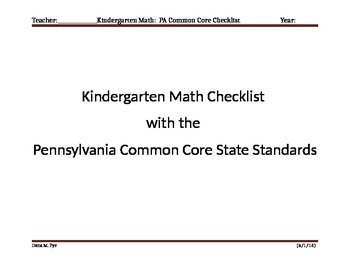 Kindergarten math Pennsylvania common core state standards checklist