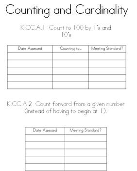 Kindergarten math data/assessment record sheets