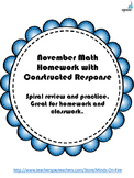 Kindergarten math homework for the Month of November