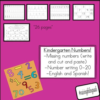 Kindergarten numbers!  (Counting and cardinality, writing,