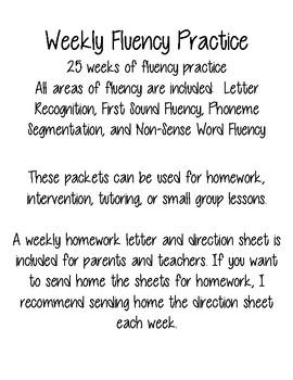 Kindergarten or First Grade Fluency Practice