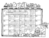 Kindergarten or First Grade Monthly Homework Calendar April