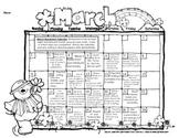 Kindergarten or First Grade Monthly Homework Calendar March