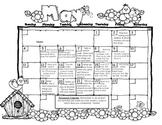Kindergarten or First Grade Monthly Homework Calendar May