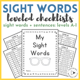  Kindergarten & First Grade  Sight Word Checklist Book by Guided Reading Level