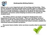 Kindergarten or First Grade Writing Rubrics for a Sentence