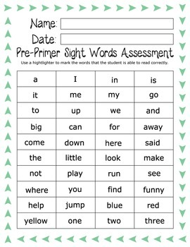 Kindergarten or Preschool Assessment Pack