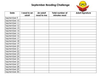 Beginning of the Year (September) Kindergarten or Primary Homework Challenge
