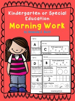 Kindergarten or Special Education; Autism Morning Work; letters, numbers