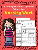 Kindergarten or Special Education; Autism Morning Work; le
