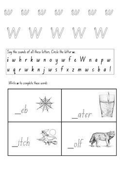 Letter W - Kindergarten literacy booklet (NSW Foundation Font)