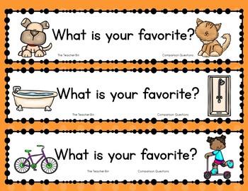 Kindergarten, primary grades-Pre-school-Question of the Day-Comparison Questions