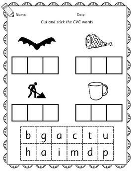 Kindergarten - read cut and stick cvc word book - phonics