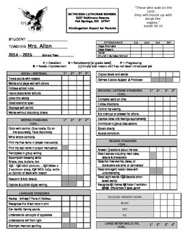 Kindergarten report card aligned to Common Core